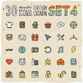 30 Colorful Doodle Icons Set 4 Stock Image - 50255861