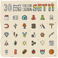 30 Colorful Doodle Icons Set 11 Stock Photography - 50255942