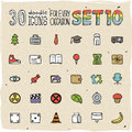 30 Colorful Doodle Icons Set 10 Royalty Free Stock Photography - 50255967