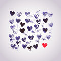 Watercolors Vector Background With Heart Stamp, Many Heart Shape Royalty Free Stock Image - 50259366