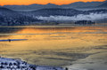 Sunset Winter Picture With Lake Royalty Free Stock Photography - 50260347