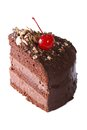 Piece Chocolate Cake With Cherry Closeup Isolated On White Royalty Free Stock Photography - 50263617