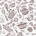 Seamless Pattern Of Kitchen Items Royalty Free Stock Photos - 50278838