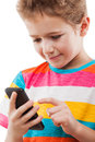 Smiling Child Boy Talking Mobile Phone Or Smartphone Stock Photo - 50281830