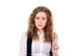 Sad Girl With Curly Hair. Stock Photography - 50282322