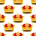 Seamless Golden Crowns With Gems Pattern Royalty Free Stock Photos - 50288278