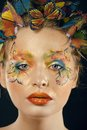 Woman With Summer Creative Make Up Like Fairy Stock Photography - 50290412