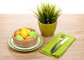 Easter Eggs With Silverware And Potted Flower Royalty Free Stock Photo - 50300605