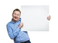 Man With Blank Sign Board Royalty Free Stock Photo - 50303785