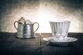 Cup Of Coffee And Brown Sugar In A Vintage Metal Sugar-bowl  Royalty Free Stock Photos - 50308318