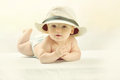 A Cute Little Baby In A White Hat. Royalty Free Stock Image - 50315816