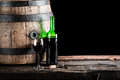 Glass Of Wine With Bottle And Old Oak Barrel Royalty Free Stock Images - 50316069