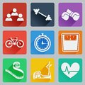 Set Of Colored Square Icons On Fitness. Fashionable Flat Design With Long Shadows. Royalty Free Stock Images - 50327369