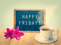 Happy Friday On Chalkboard Royalty Free Stock Images - 50328549