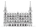 Madrid, House Of Phillip III In Plaza Mayor, Sketch Royalty Free Stock Images - 50331509