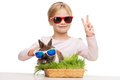 Smiling Girl And Bunny In Sunglasses Royalty Free Stock Images - 50337659