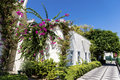 Typical Turkish  Street With White House And Bougainvillea Flower Stock Photo - 50347810