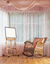 Wooden Easel And Wicker Rocking Chair Composition Stock Images - 50360424