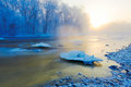 The Frozen River Snow And Ice Crystals Sunrise Stock Photography - 50364302
