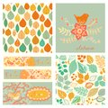 Vector Autumn Set, Seamless Pattern With Leaf, Autumn Leaf Backg Royalty Free Stock Photos - 50384438