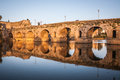 Sunset Over The Monument, Roman Bridge Over The Guadiana River In Merida, Spain Royalty Free Stock Photography - 50395627