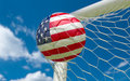 USA Flag And Soccer Ball In Goal Net Royalty Free Stock Photo - 50397435