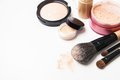 Powder, Foundation And Brushes On The White Stock Image - 50409091