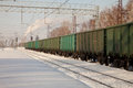 Freight Cars At The Station Royalty Free Stock Photo - 50410025