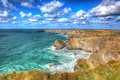 Beautiful Cornish Coast Bedruthan Steps Cornwall England UK Cornish North Coast Near Newquay In Stunning Colourful HDR Stock Photos - 50415713