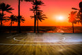 Wooden Floor Basketball Court With View Sunset Stock Photo - 50421830