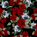 Vector Seamless Floral Pattern With Red Roses Royalty Free Stock Photo - 50428835