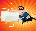 Comic Super Hero Holding Sign Stock Photography - 50433962