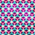 Neon Grid Seamless Pattern With Grunge Effect Stock Photography - 50445332
