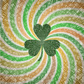 Saint Patricks Day Greeting Card With Clover Leaf On Abstract Geometric Fanning Twirl Rays Background In Vintage Shades Of Green A Stock Images - 50450304