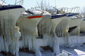 Yachts At The Winter Parking Lot Royalty Free Stock Photography - 50450467