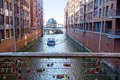 Boat On A Canal In The Speicherstadt Warehouse District In Hambu Royalty Free Stock Photography - 50453387