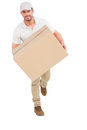 Delivery Man With Cardboard Box Running Stock Photos - 50475063