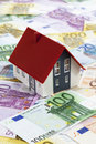 Model House On Heap Of Euro Notes Royalty Free Stock Photography - 50483827
