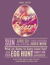 Purple Happy Easter Egg Hung Poster Template Royalty Free Stock Photography - 50486227