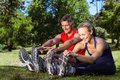 Fit Couple In The Park Stock Image - 50490321