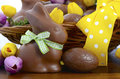 Easter Chocolate Hamper Of Eggs And Bunny Rabbits Stock Images - 50495484