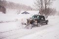 The Vehicle For Clearing Roads Of Snow Stock Photography - 50523542