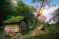 Norwegian Typical Grass Roof Wooden Old House In Glacier Panorama Stock Image - 50528271