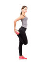 Profile Side View Of Young Sporty Female Beauty Stretching Leg Royalty Free Stock Images - 50528889