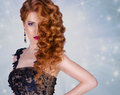Beauty Model With A Bright Evening Make-up.Jewellery.luxurious Glamorous Redhead Girl With Curly. Stock Images - 50530404