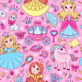 Seamless Pattern With Three Cute Little Princesses Royalty Free Stock Photography - 50532127