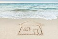 House Drawn On Sand By Sea Stock Photography - 50542642