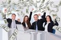 Business People With Money Rain In Conference Room Stock Photography - 50543022