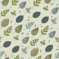 Retro Leaves And Flowers Green Tones Stock Images - 50551564