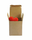 Red Heart In Paper Box Isolate On White Background (with Clipping Path) Royalty Free Stock Images - 50561359